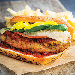 chicken parmesan sandwich with chips