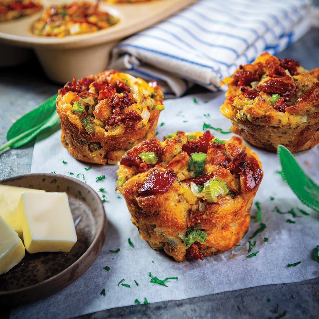 Bacon-Sage Stuffing Muffins