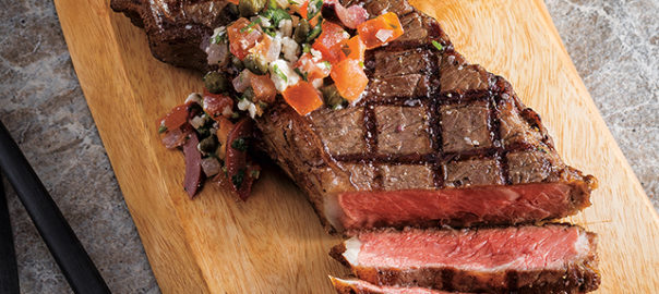 Grilled New York Strip Steaks with Tomato, Olive & Feta Relish