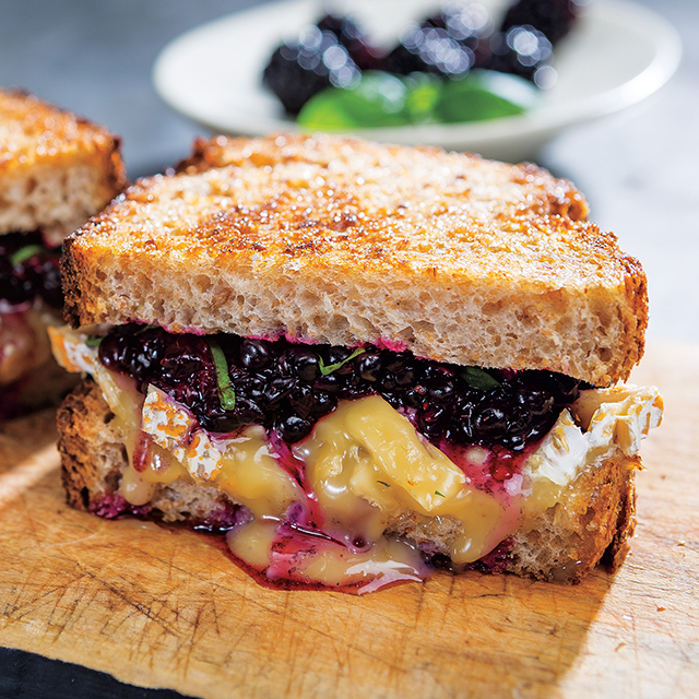 Smashed Blackberry, Basil & Camembert Grilled Cheese