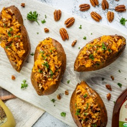 Maple-Mustard Twice-Baked Sweet Potatoes